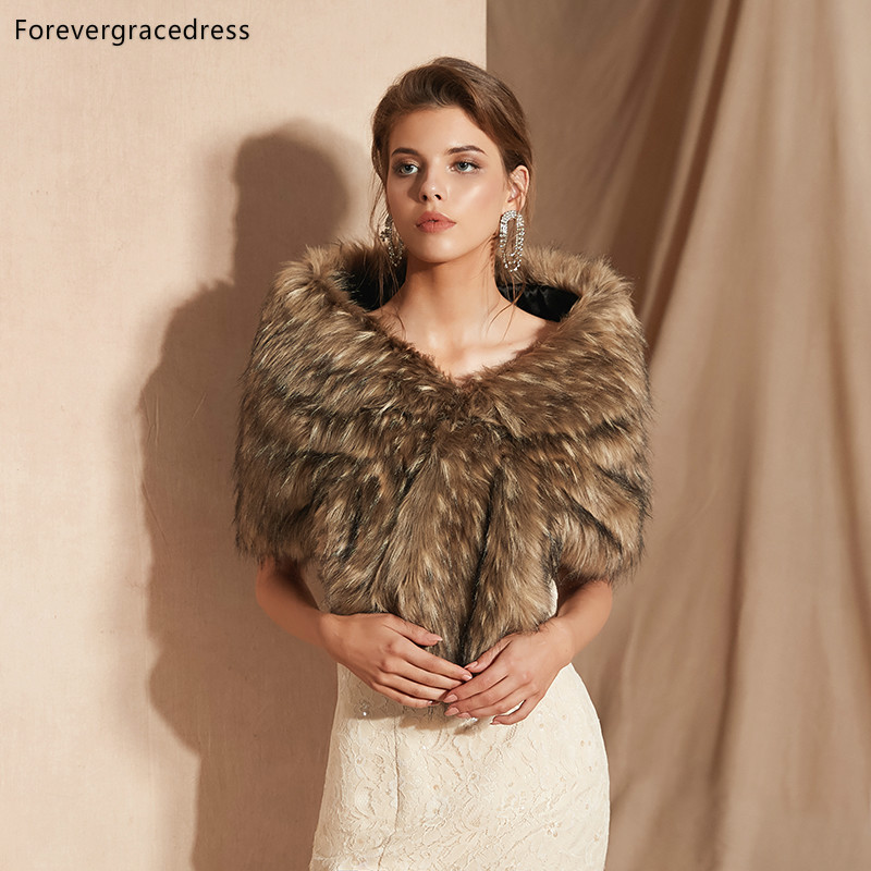 Forevergracedress 2019 Elegant Soft Autumn Winter Faux Fur Bride Wedding Wrap Bolero Jackets Bridal Coats Shawls Scarves PJ307