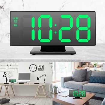 LED Mirror Digital Alarm Clock Multifunction Electronic Desktop Clock Snooze Night Display Electronic Desk Clocks Despertador