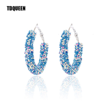 TDQUEEN Bohemian Hoop Earrings For Women Shiny Sequins Cute Colors Girl Jewelry Gift Silver Plated Big Circle Round
