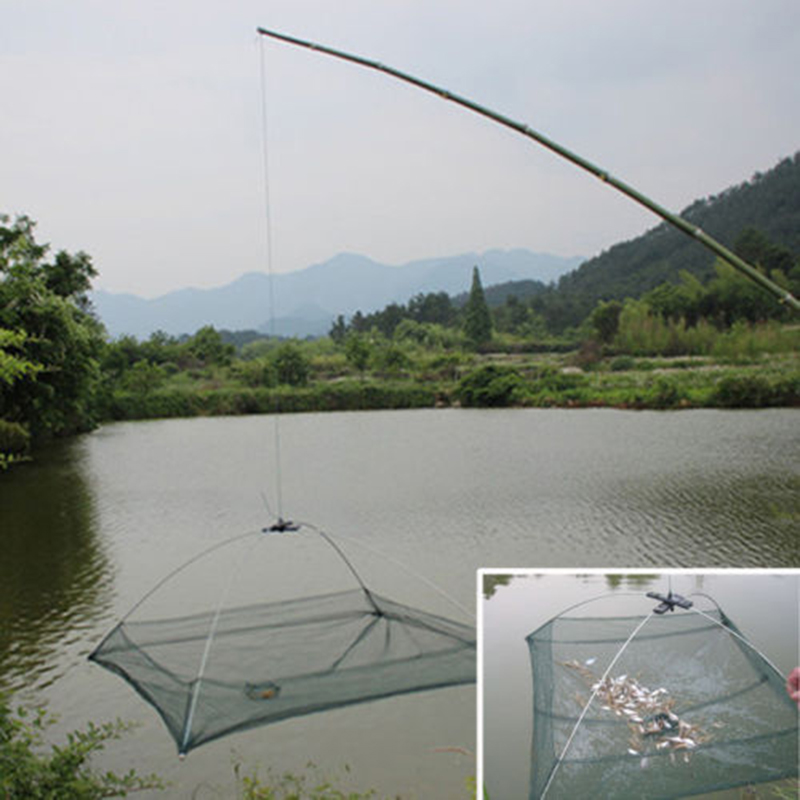Folded Fishing Net Small Fish Shrimp Minnow Crab Bait Cast Mesh Cage Trap Tackle