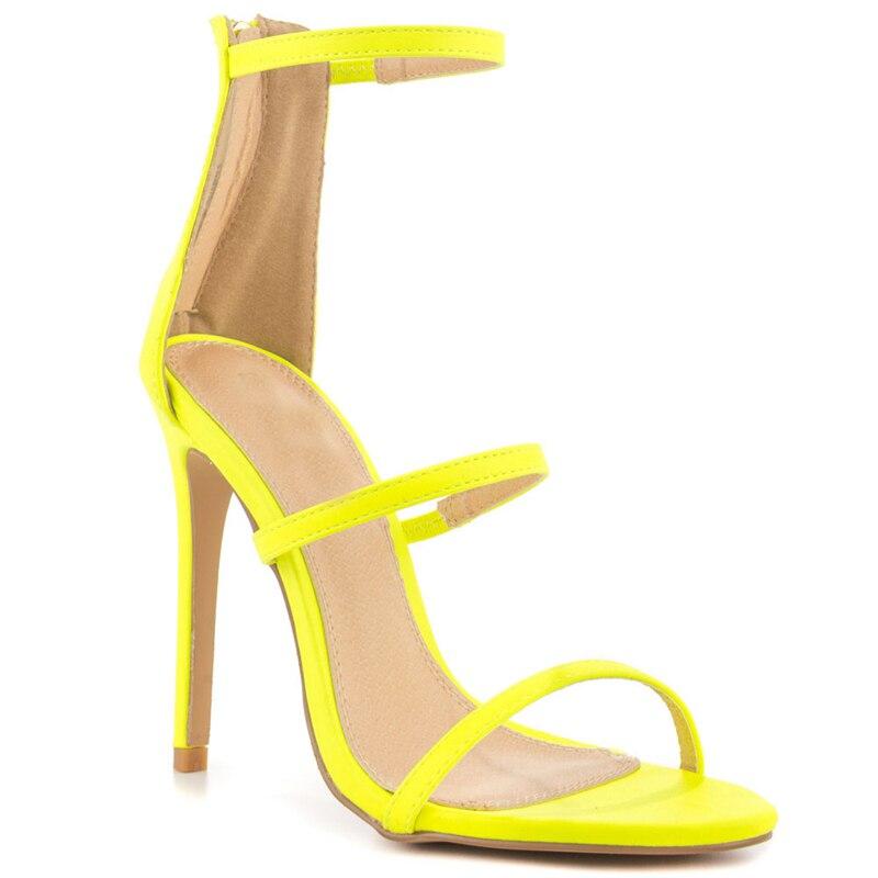 ФОТО Narrow Strap Women Sandal Stilettos High Heels Custom Colors Women Shoes Summer 2016 Rubber Sole Sandals Gladiator Style