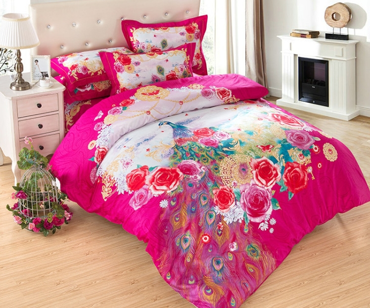 Peacock Comforter King Size: 3d Bedding Set Chinese Wedding Peacock Print Bedding Set