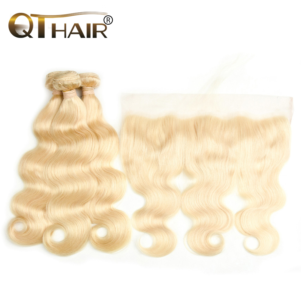 QT613 Blonde Body Wave Peruvian Hair Weave Human Hair Bundles With Closure 3 Bundles Remy Hair and 1PC Lace Frontal Closure
