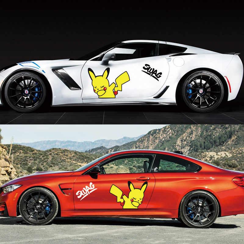 Voiture autocollant marée dessin animé Pikachu créatif autocollant dessin animé motif pour voiture porte voiture décor étanche et crème solaire