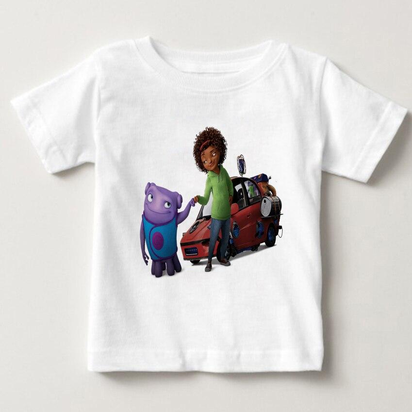 Extraterrestrial clothing summer short sleeves white boy girl T-shirt crazy alien pure cotton children animation shirt M