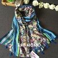 Этническая шарф 2016 женщины женщина осень зима Испания стиль boho дизайн длинные голубые печати шарфы мыс платок cappa обертывания палантин