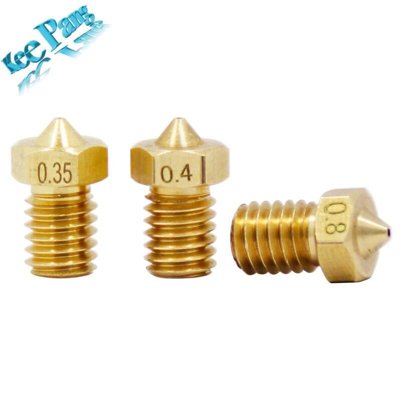 5 teile/los V5 V6 Düse 0,2 0,25 0,3mm 0,35 0,4mm 0,5 0,6 0,8 1,0 Teil Kupfer 1,75mm Filament M6 Gewinde...