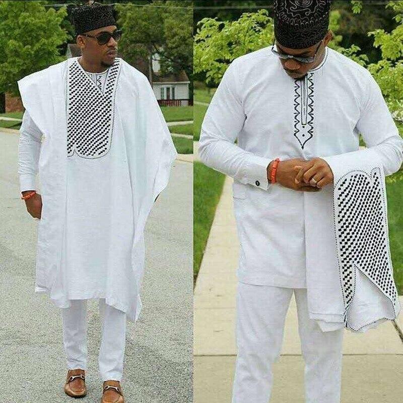 no cap african clothes men dashiki bazin riche suits tops shirt pant 3 pieces set embroidery