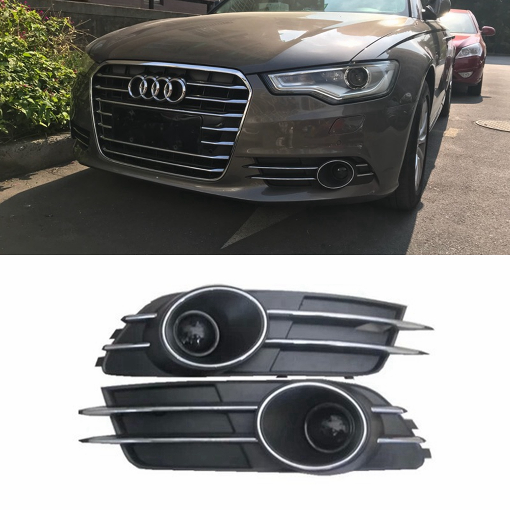 MONTFORD For Audi A6 C7 2011-2015 ABS Material Front Bumper Foglight Grille Fog Light Lamp Set Fog Light Lamp Grille Covers 2Pcs front bumper fog lamp cover abs fog light mask cover grill grid with led light grille for audi for a6 c7 2013