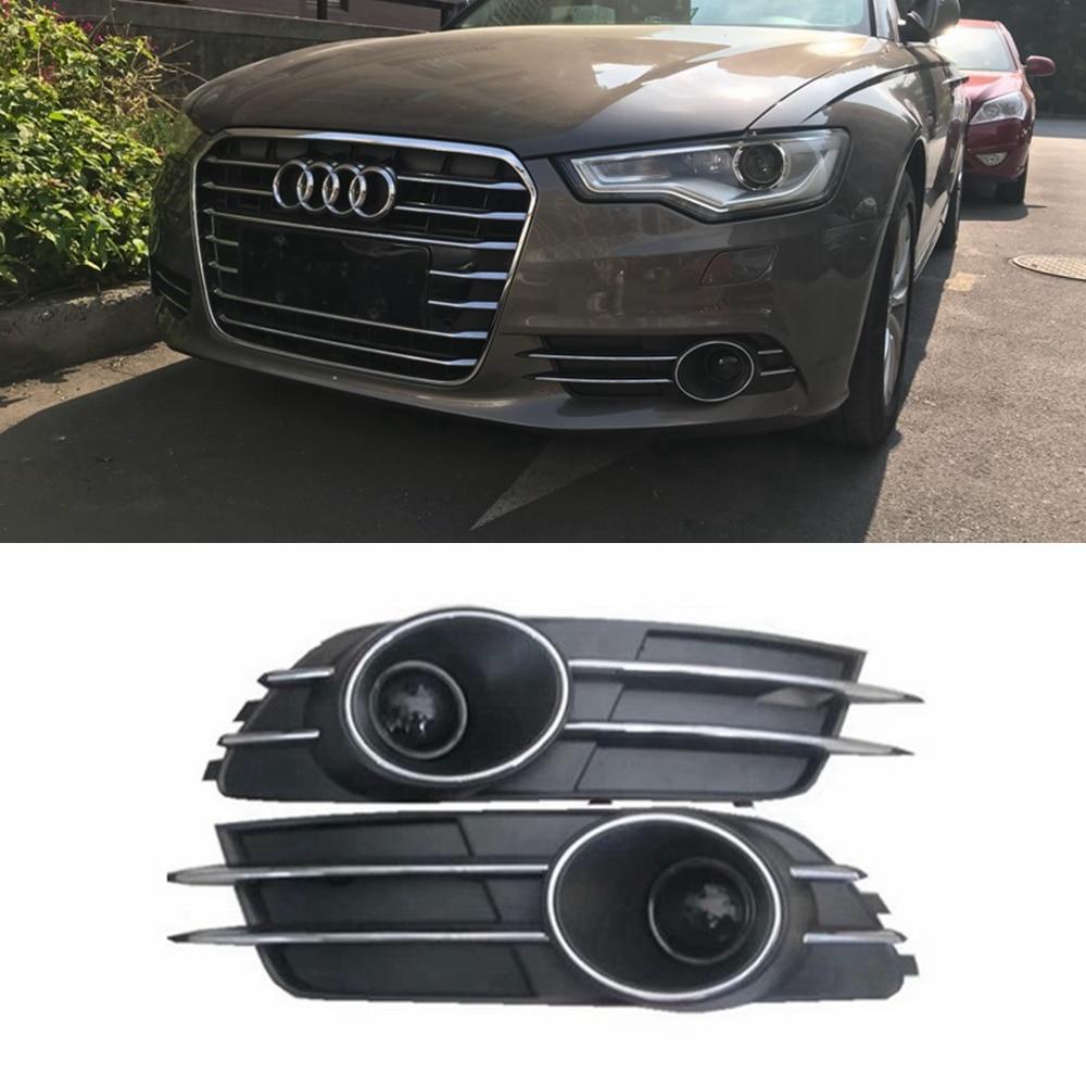 MONTFORD Pour Audi A6 C7 2011-2015 ABS Matériau Pare-chocs Avant Foglight Grille Brouillard Lumière Lampe de Lumière Ensemble de Brouillard Lampe Grille Couvre 2 Pcs