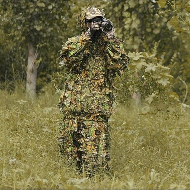 Лесной 3D Bionic листьев Маскировочная форма CS камуфляж набор маскировочный костюм лохматого типа для снайперов плащ шляпа Снайпер