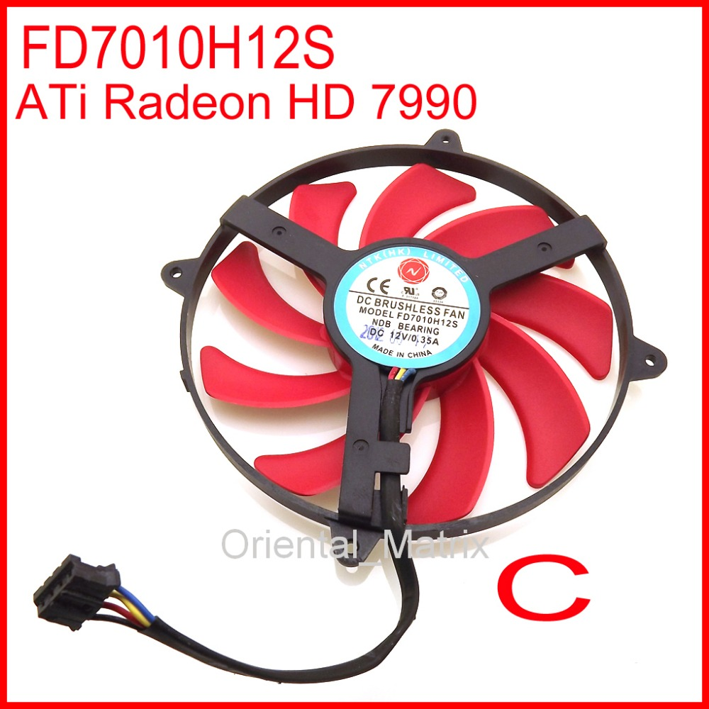 Free Shipping NTK FD7010H12S 90mm DC BRUSHLESS FAN 12V 0.35A Graphics Card Cooling Fan ATi Radeon HD 7990