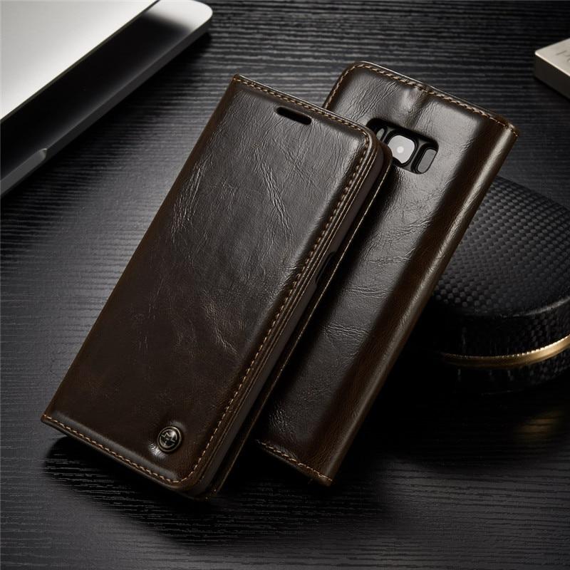 imágenes para Cajas Del Teléfono de lujo para Samsung Galaxy Funda de piel para Samsung S8 S8 Más S8Plus Cubierta Del Soporte Del Tirón Magnético Monedero Bolsas