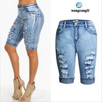 Jakość skinny jeans kobiety Stretch Chusteczki Przewija Noszone spodenki kobiet Kowbojskie Spodnie Wysokiej talii Mankiet boyfriend jeans plus size femme