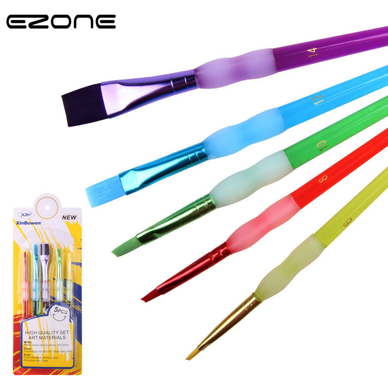 Us 2 56 20 Off Ezone 5pcs Set Paint Brushes Different Shape Nylon Hair Watercolor Three Types Brush Painting Tools Art Supplies Paperalia Gifts In
