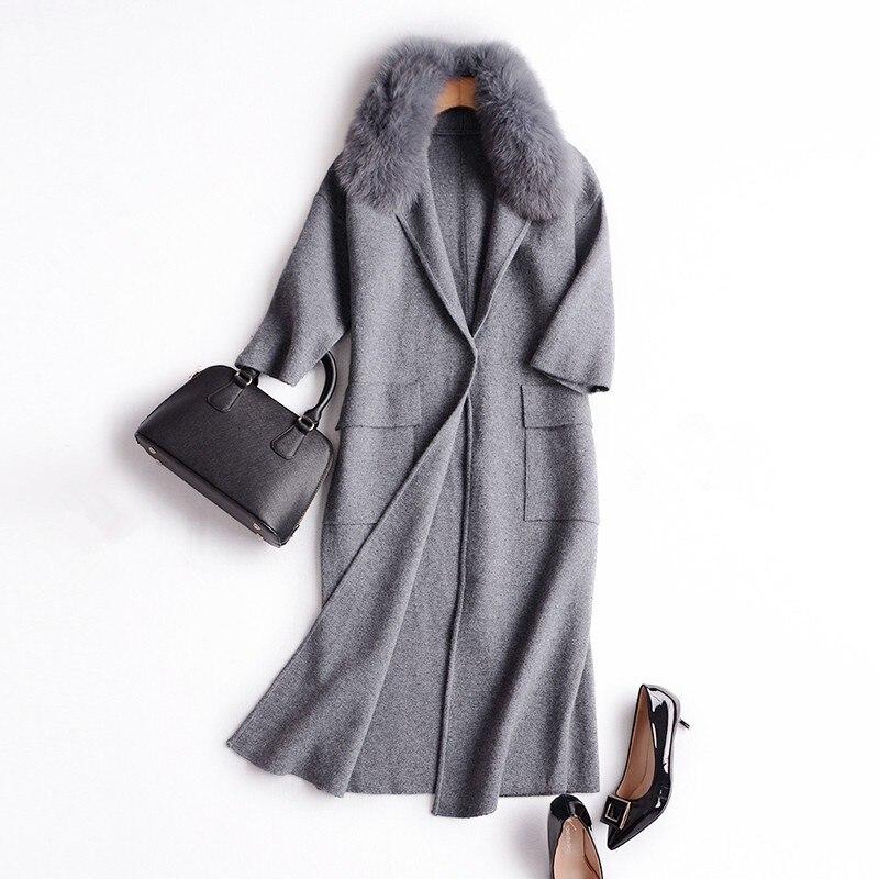 Pur vison cachemire femmes de mode long cardigan chandail manteau de fourrure de renard col 3 couleur S-2XL