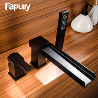 Fapully Basin Faucet Waterfall Faucet Single Handle Bathroom Sink Black Mixer Taps Square Hot and Cold Water Bathtub Faucet 604