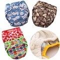 JinoBaby1.0 Reutilizáveis Fraldas Do Bebê de Bambu Fraldas de Pano Do Bebê À Prova D' Água (4 PCS Fraldas + 4 PCS Inserções)