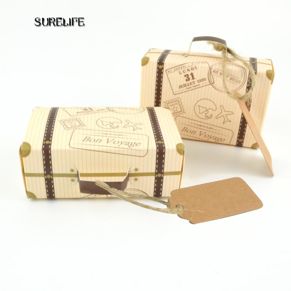 Wedding Gift Packaging: 50PCS Creative Mini Suitcase Candy Box Candy Packaging