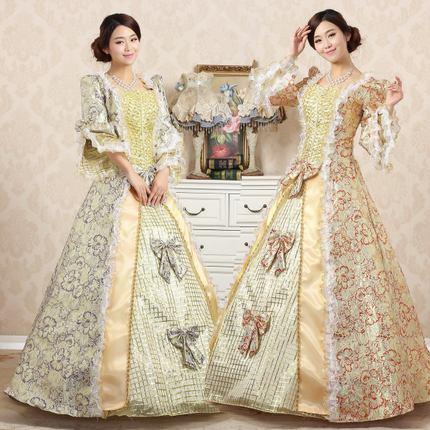 2018 automne et hiver Europe palais impression Baroque Rococo robe de soirée Marie Antoinette mascarade banquet robes de bal pour dames