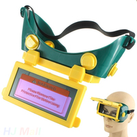 Solar Powered Auto Darkening LCD Welding Protective Glasses Helmet Protection Grinding Welder Goggles Black And Green