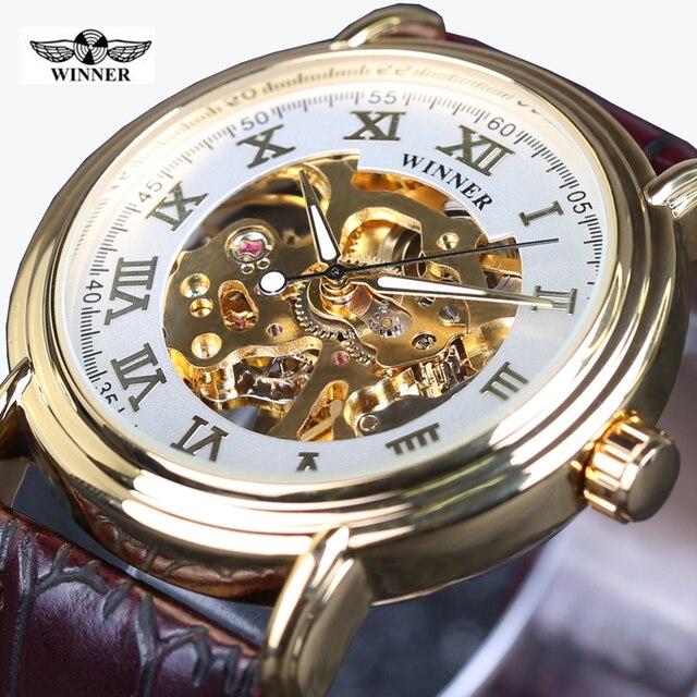 4822e7d9abc Winner Skeleton Relógio Mecânico Automático de Alta Qualidade Pulseira de  Couro Relógio de Ouro Dos Homens