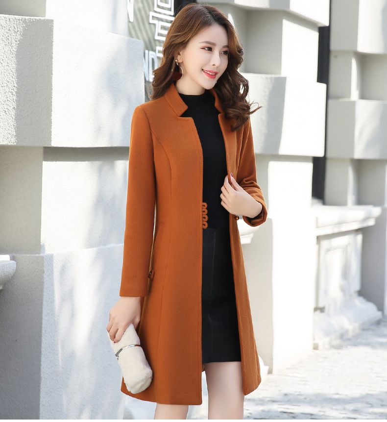 Outerwear Overcoat Autumn Jacket Casual Women New Fashion Long Woolen Coat Single Breasted Slim Type Female Winter Wool Coats 17