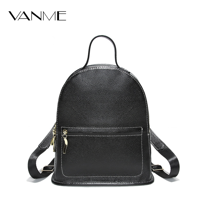 New High Quality Large Girl Schoolbag Travel Bag Solid Travelling Backpack Women Leather Backpack Black Bolsas