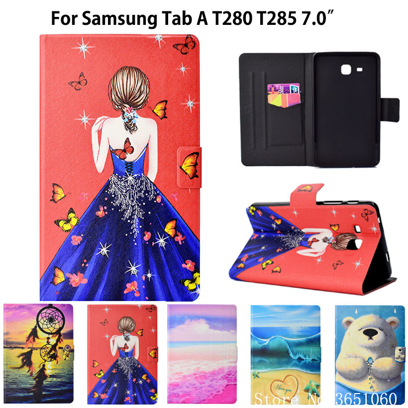 2016 Tab A6 7.0 Case For Samsung Galaxy Tab A 7.0 T280 T285 SM-T285 Case Cover Funda Tablet Fashion Girls Flip Stand Shell