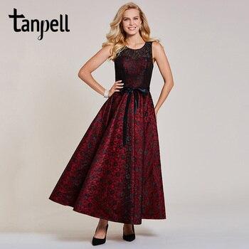 Tanpell lace bowknot evening dress burgundy sleeveless floor length a line dress women formal wedding party long evening dresses