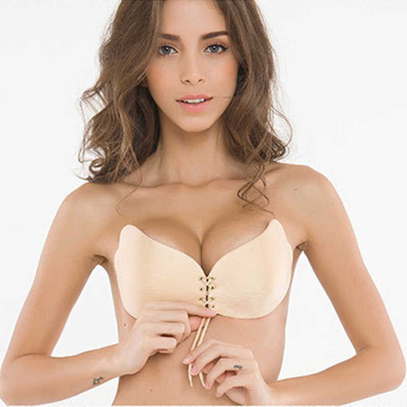 Sexy Push Up Bras Seamless Women Sexy Invisible Bra Adhesive Silicone Backless Wedding Bralette Bras Strapless Intimates Fly Bra
