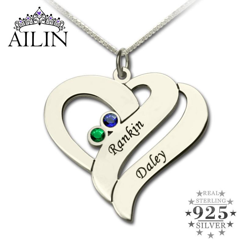 Wholesale Two Name Hearts Necklace Engraved Initial Hearts Mother Pendant with Birthstone Silver Dainty Mother Necklace цена