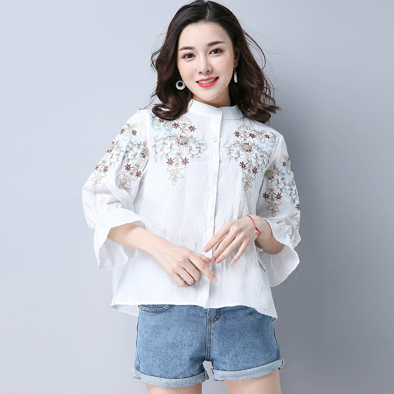 Women Vintage Cotton Linen Embroidery Blouse New 3/4 Sleeve Blusas Feminina Stand Collar Loose Casual Shirts Tops White Blue-in Blouses & Shirts from Women's Clothing on AliExpress - 11.11_Double 11_Singles' Day 1