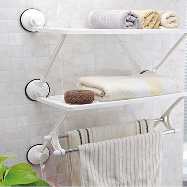 Double deck And Pole Hutch Defends Corner Towel Bar Set Shelf Rack ...