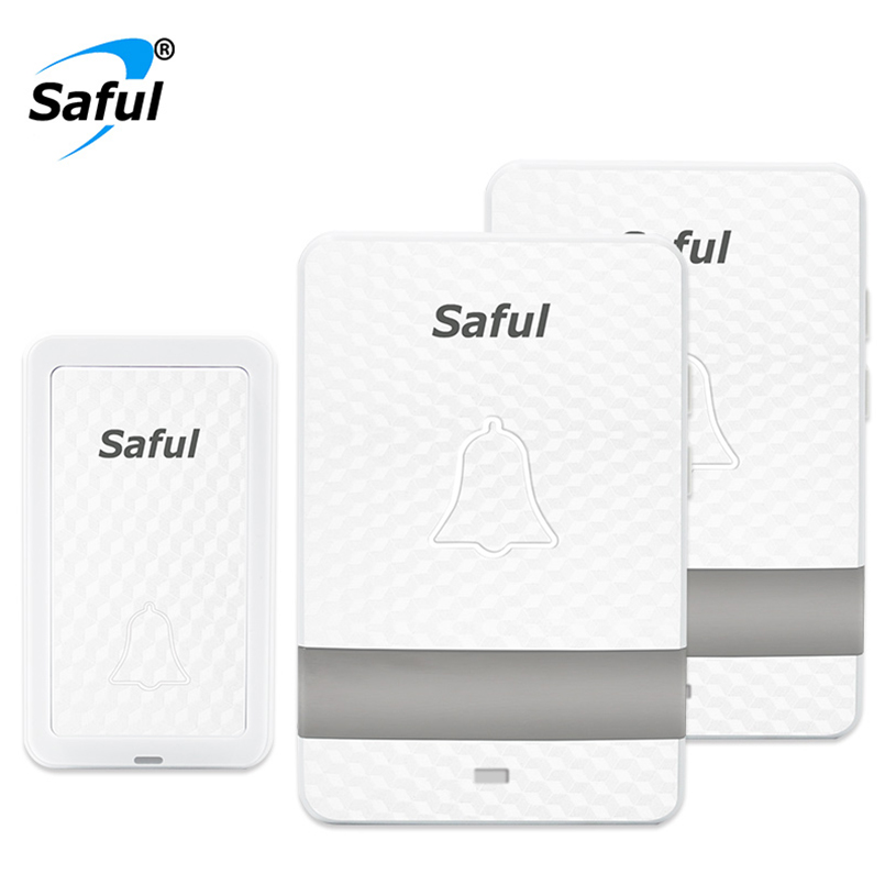Saful Wireless Doorbell White No Battery Waterproof 150M Remote EU/AU/UK/US Plug Smart Door Bell with One Push Button+2 Receiver saful hot sale call bell 2 waterproof button 3 eu plug in receiver electrical bell 28 rings remote for smart door bell wireless