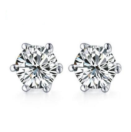 White Gold Plated 6 Gs Sparkling 0 5ct Cubic Zirconia Diamond Post Cz Stud Earrings