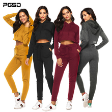 PGSD Autumn winter Sports Women clothes Fashion simple pure color pocket midriff-baring Frenulum Hooded sexy Casual Suit female sexy midriff baring tops