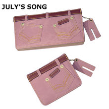2017 JULY'S SONG New Fashion Women Denim Wallet Cards Holder Female Clutch Coin Bag Long Shot Jeans Pattern Purse(China)