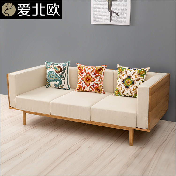 Anese Small And Medium Sized Family Cloth Art Sofa Household Solid Wood Three Seats In Living Room Simple Fashion Sofas From