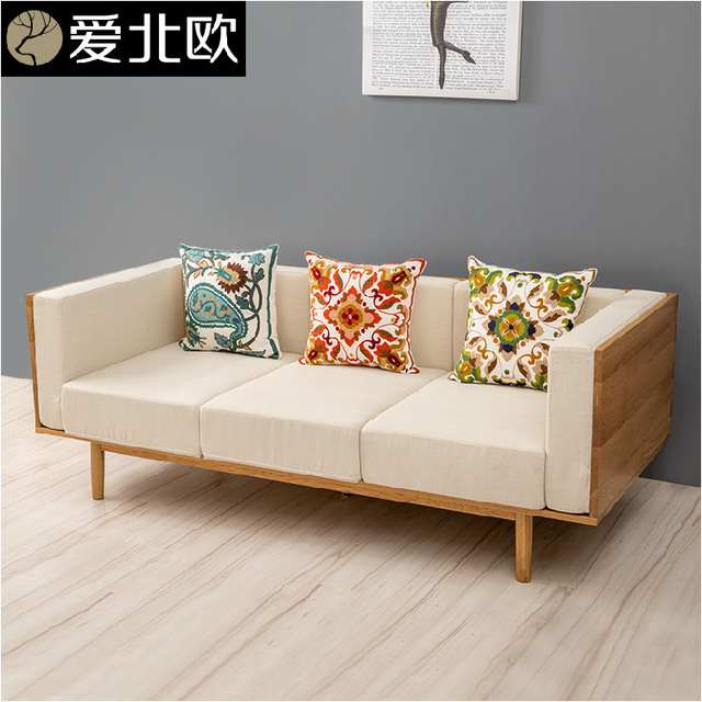 Anese Small And Medium Sized Family Cloth Art Sofa Household Solid Wood Three Seats