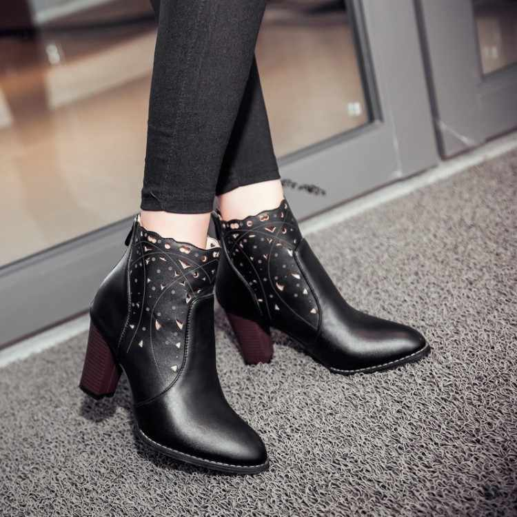 Big size 34-46New Round  Toe Buckle Boots for Women Sexy Ankle Boots Heels Fashion warm Winter  Spring  Autumn Casual Shoes F14