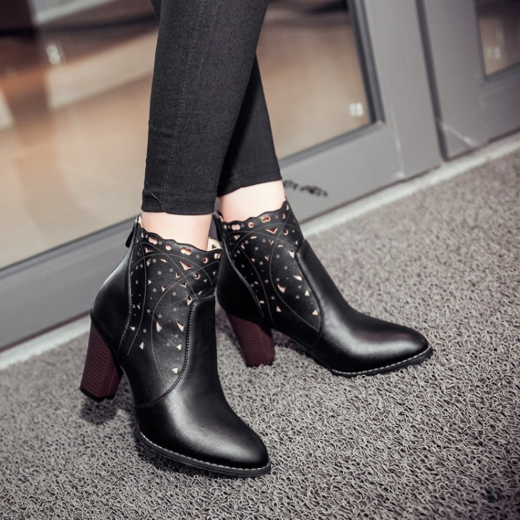 Big size 34-46New Round  Toe Buckle Boots for Women Sexy Ankle Boots Heels Fashion warm Winter  Spring  Autumn Casual Shoes F14 new sexy spring autumn big button decoration spring autumn women shoes black high heels boots platform ankle boots size 34 40
