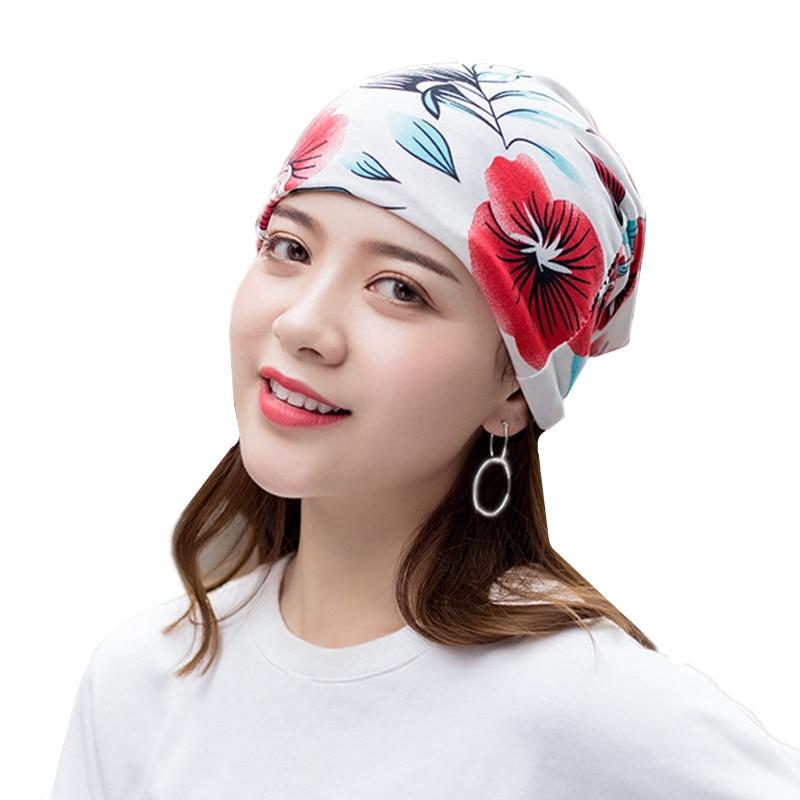 Summer Women Print Hedging Cap Fashion Colorful Women   Skullies     Beanies   Multipurpose Cotton Hedging Cap Scarf Collar Wholesale