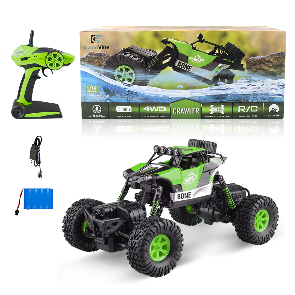 GizmoVine RC Car 1/16 2.4G 4WD Double Motors Bigfoot Car Remote Control Toys Waterproof RC Desert Buggy Truck Dirt Bike For Kids