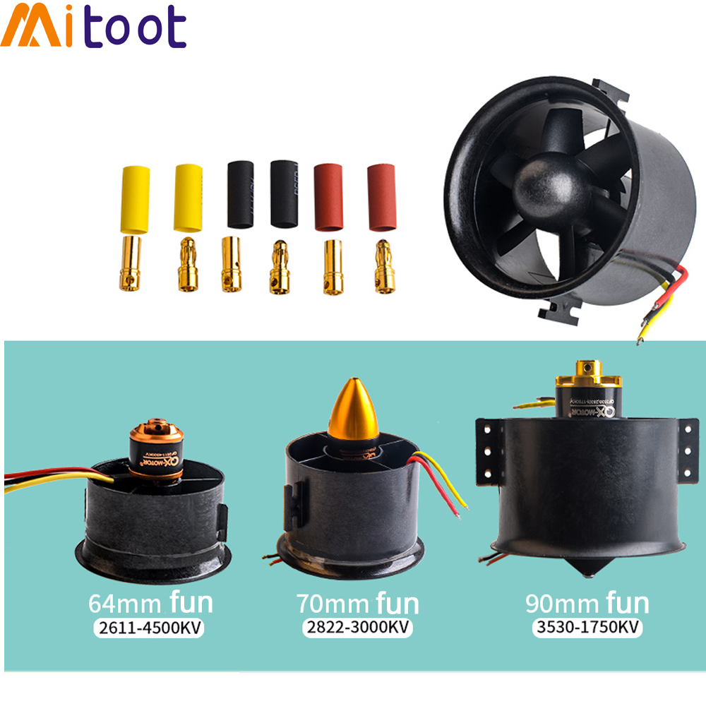 70mm Duct Fan+3000kv Motor Spindle-4mm / 64mm Fan+4500kv Motor / 90mm Duct Fan+1750KV Motor For Jet RC EDF For RC Airplane