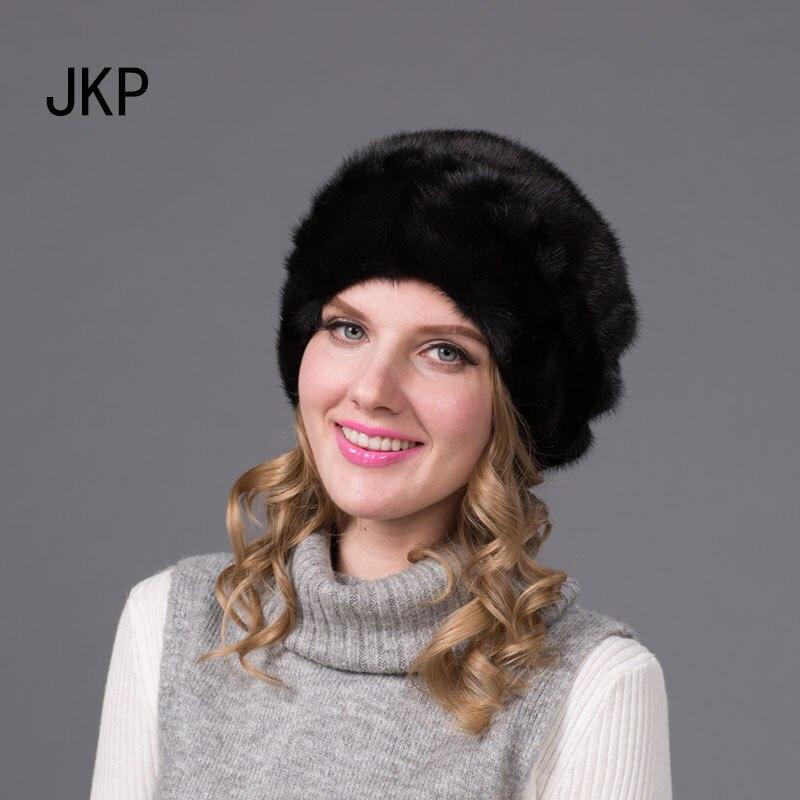 JKP 2018 NOUVEAU Hiver chapeaux de fourrure pour les femmes réel de fourrure de vison chapeau avec bonnets bonnet de fourrure de bonne qualité mode femmes solide caps DHY-71