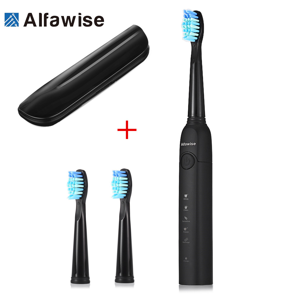 Alfawise SG - 949 Sonic Electric Toothbrush with Smart Timer Five Brushing Modes Waterproof with 3 Brush Heads + Storage Box Z30Alfawise SG - 949 Sonic Electric Toothbrush with Smart Timer Five Brushing Modes Waterproof with 3 Brush Heads + Storage Box Z30