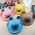 Summer 2016 Baby Straw Hat Kids Knitting Caps Solid Lovely Beach Sunhat Children Cute Shape Design Character Sun Hat casquette