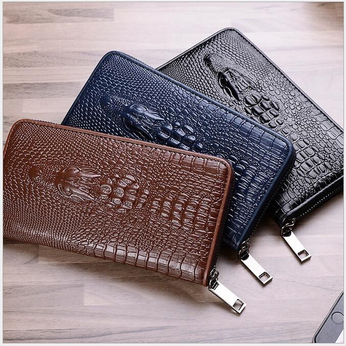 ФОТО Luxury Crocodile Grain Women Long Wallets Genuine Leather Embossed Design Draw-out Female Wallet Purses Car Suture Purses H175