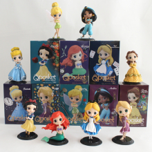цены на Q Posket Princess Doll Aurora Alice Mermaid Tinkerbell Wonder Woman Harley Quinn QPosket Characters Figure Model Girl Toys Gifts